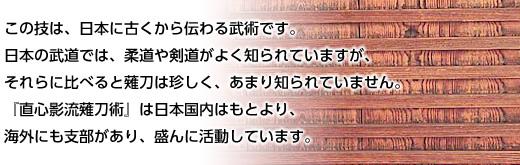 この技は、日本に古くから伝わる武術です。日本の武道では、柔道や剣道がよく知られていますが、それらに比べると薙刀は珍しく、あまり知られていません。 『直心影流薙刀術』は日本国内はもとより、海外にも支部があり、盛んに活動しています。